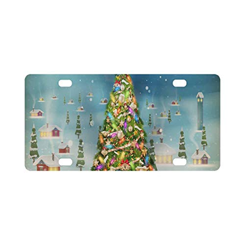 INTERESTPRINT Christmas Scene Snowfall Covered Little Village with Tree Metal License Plate Tag Sign Decor 12