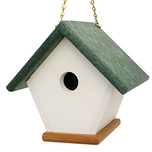 HomePro Garden Hanging Wren Bird House Handmade from Eco Friendly Recycled Plastic Materials (Green/Cedarwood)