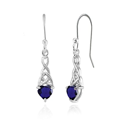 Sterling Silver Created Blue Sapphire 6x6mm Dainty Heart Celtic Knot Dangle Earrings by Ice Gems