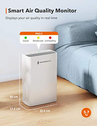 TaoTronics HEPA H13 Air Purifier for Home, Allergies Smoke Pollen Pets, Home Air Cleaner Filtration System, Odors Dust, Sleep Mode Timer Auto Mode Negative Ion Mode, Air Quality Indicator