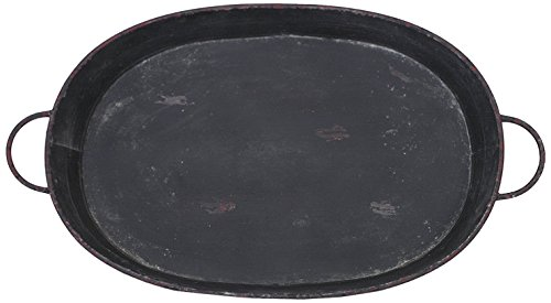 Creative Co-Op Oval Metal Tray with Handles and Distressed Black Finish