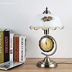 TYXHZL Bedroom Bedside lamp Retro Nostalgic with Clock dimmable Decorative Glass LED Table lamp Office Desk Study Desk lamp dimmer Switch +5 watt LED Warm Light