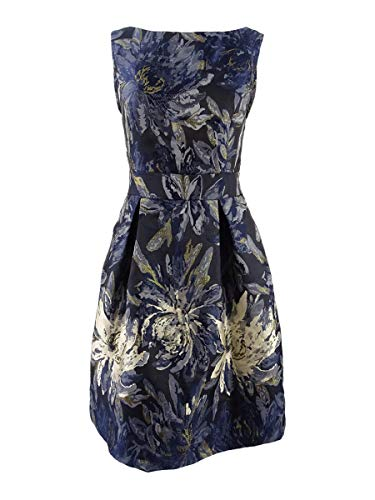 Jessica Howard Womens Party Metallic Special Occasion Dress Navy 14