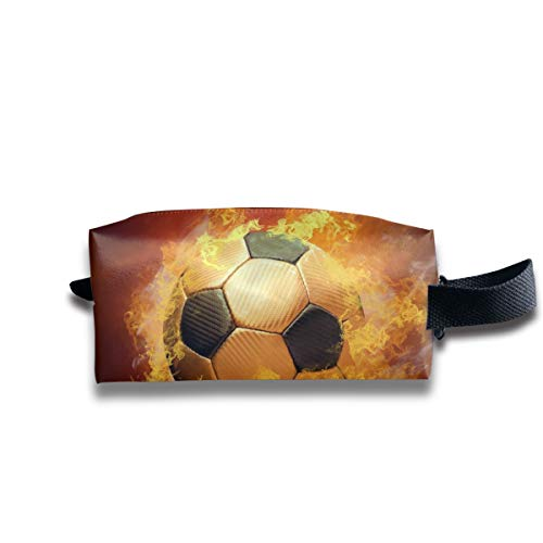 Small Toiletry Bag Fire Soccer,Pencil Case,Travel Essentials Bag,Dopp Kit Bag For Men And Women With Handle -