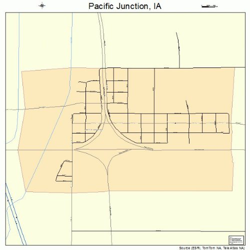 Large Street & Road Map of Pacific Junction, Iowa IA - Printed poster size wall atlas of your home town