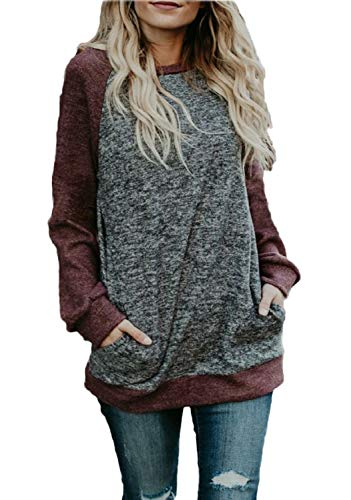 for Leggings Women Winter Cotton Knit Pullover Shirts Sweater Blouse (L, Wine Red) ()