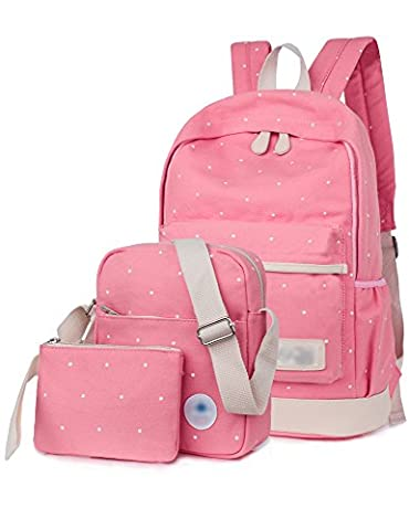 Leaper Girl's Canvas Cute Dots School Backpack+Cross Body Bag+Pencil Bag(3PCS, Pink) - Pink Kids Bag