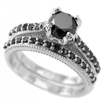 Fancy Black Diamond Engagement Ring/Wedding Band Set 14k White Gold
