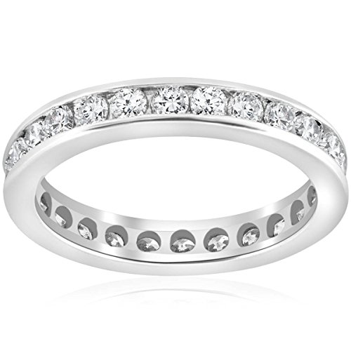 1 1/2ct Channel Set Diamond Eternity Ring 14K White Gold - Size 6.5 ()