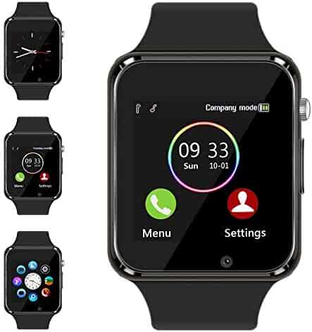 Aeifond Smart Watch Touch Screen Sport Smart Wrist Watch Bluetooth Smartwatch Fitness Tracker Camera Pedometer SIM TF Card Slot Compatible Samsung Android iPhone iOS Kids Women Men (Black)