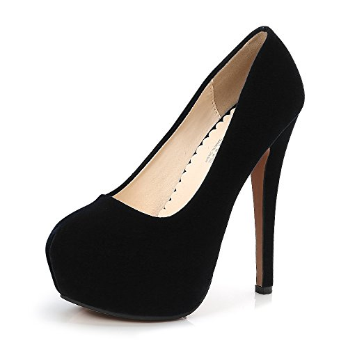 Heel Suede Pumps (OCHENTA Women's Round Toe Platform Slip on High Heel Dress Pumps Faux Suede Black Tag 41 - US B(M) 9)