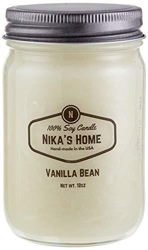 Nika's Home Vanilla Bean 12oz Mason Soy Candle