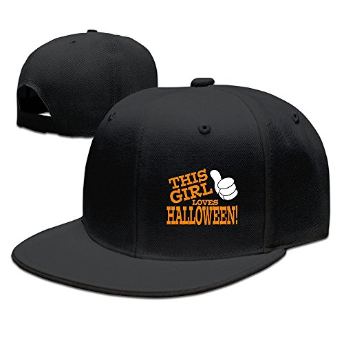 Runy Custom This Girl Loves Halloween Adjustable Baseball Hat & Cap Black