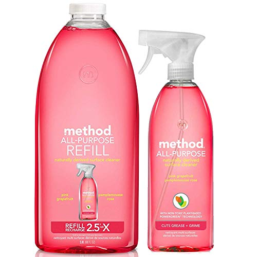Method Pink Grape Fruit, All-Purpose Naturally Derive Surface Cleaner (28 oz) + Refill of 68 oz (Method All Purpose Natural Surface Cleaning Spray)