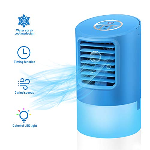 Vosarea Portable Air Conditioner Fan, Mini Personal Evaporative Air Cooler with 3 Wind Speeds Small Desktop Cooling Fan Super Quiet Personal Table Fan Compact Air Cooler with US Plug (Blue) ()