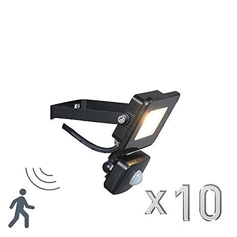 QAZQA Moderno Set de 10 proyectores LED RADIUS 1 10W negro con sensor de movimiento PIR