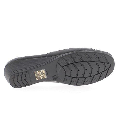 Mocassins femme confort noirs à talons compensés de 4cm