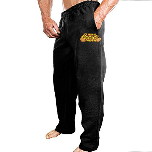 FALKING Men's Funny Cotton Sport Reese's Cup Logo Jogger Sweatpants M Black (Reeses Peanut Butter Cup Pie compare prices)