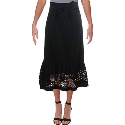 LAUREN RALPH LAUREN Womens Eyelet Flounce Midi Skirt Black 14 ()