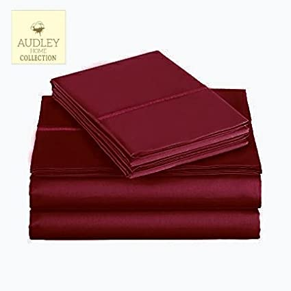 California King 4 Piece Set by Audley Home 400 Thread Count 100/% Long Staple Cotton Sheet Set California King Sheets Smooth Sateen Weave,Burgandy Luxury Bedding