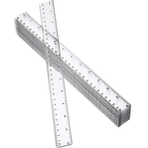 50 Pack Clear Plastic Ruler, 12 Inch Standard/Metric Rulers Straight Ruler Measuring Tool for Student School Office (Clear) ()