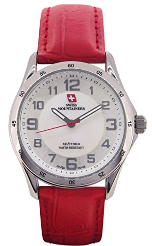Swiss Mountaineer Ladies Swiss Watch Red Leather Band White MOP Dial Easy Read Reloj ()