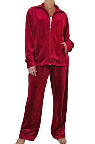 - ICE (6475-9) Plus Size Full Figure Womens Luxury Velour Tracksuit Red (8XL)