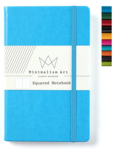 Minimalism Art | Classic Notebook Journal, Size: 5 X 8.3, A5, Blue, Squared Grid Page, 192 Pages, Hard Cover/Fine PU Leather, Inner Pocket, Quality Paper - 100gsm | Designed in San Francisco