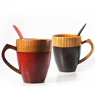 FODR Jujube wood, Reusable Cup with Spoon, Beer Mug, Coffee Cup, Teacup, Soup Bowl With Heart Handle, Handmade Natural Solid, Eco Friendly, 300ML (RED.BLACK 2PCS)