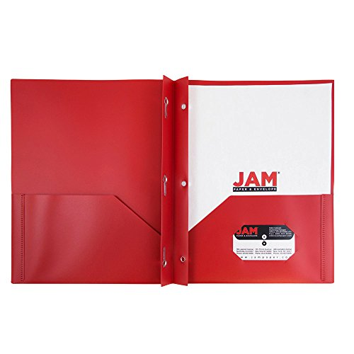 JAM Paper Plastic Eco Two Pocket Presentation Folder with Clasps - Red - 6/pack
