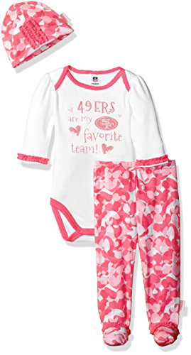 "Gerber Childrenswear ""Favorite Team"" Bodysuit, Pant & Cap Set, 6-9 Months, Pink"