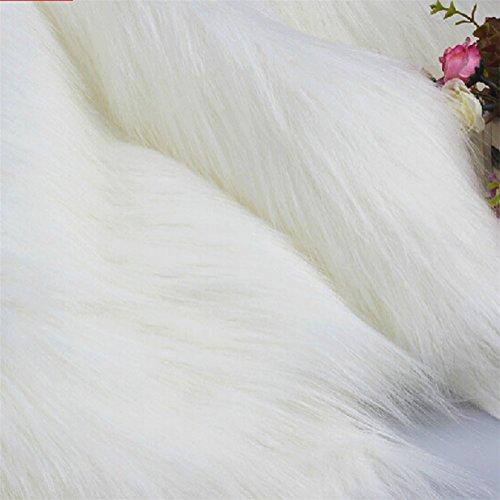 Handmade Fur Faux (White Fur Fabric- Craft Fur, Fursuit Fur, Furry Fabric Shag Fur Faux Fur Fake Fur Photography Backdrop Home Decro Handmade DIY (white, 1/2 yard))