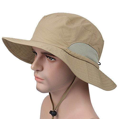 Ezyoutdoor Unisex Outdoor Quick-dry UPF50+ Fishing Hat Big Brimmed Boonie Cap Cowboy Bucket Hat with Chin Cord for Fishing Hunting Camping Swimming Hiking (Khaki) (Strike King Lure Company Hat compare prices)
