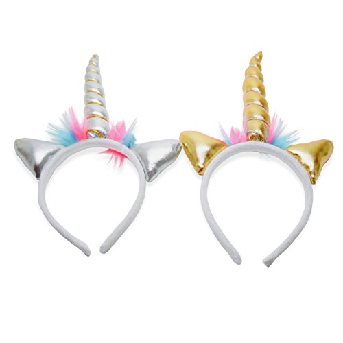 RINCO Plush Unicorn Costume Headbands Supplies for Party Favors (Pack of 2 Gold & Silver)