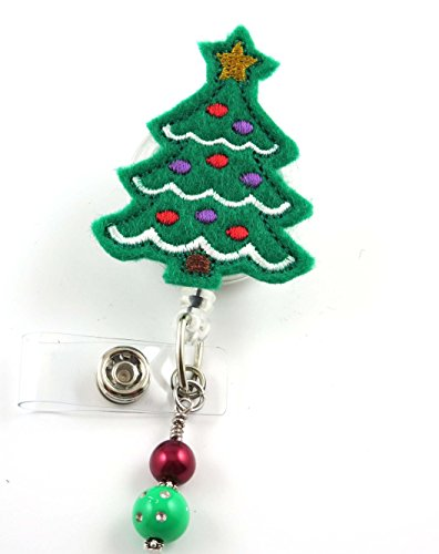 Christmas Tree with Bulbs - Nurse Badge Reel- Retractable ID Badge Holder - Nurse Badge - Badge Clip - Badge Reels - Pediatric - RN - Name Badge Holder