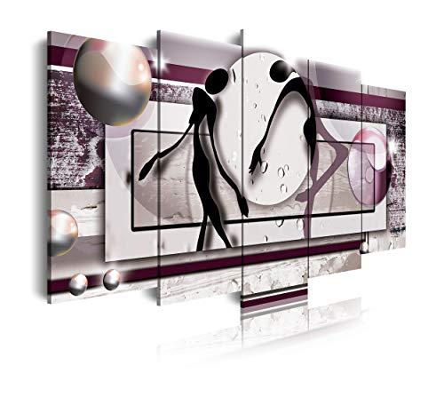 DekoArte 85 - Cuadros Modernos Impresion de Imagen Artistica Digitalizada | Lienzo Decorativo para Tu Salon o Dormitorio | Estilo Abstracto con Colores Morados | 5 Piezas 150 x 80 cm