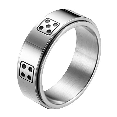 LANHI Men's 8MM Stainless Steel Dice Spins Spinner Ring Band, Silver 10