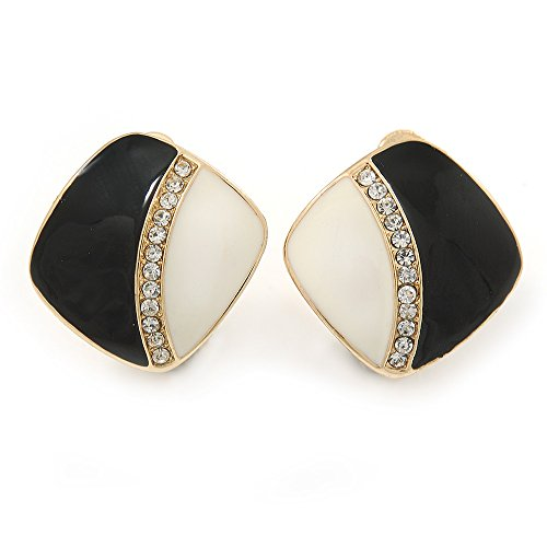 Black/ White Enamel Crystal Square Clip On Earrings In Gold Plating - 20mm