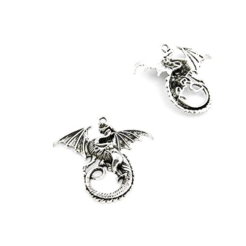 10 Pieces Antique Silver Fashion Jewelry Making Charms Findings FFLN0 Dragon Supplies Craft Vintage Bulk Retro DIY Lots Repair Jewellery