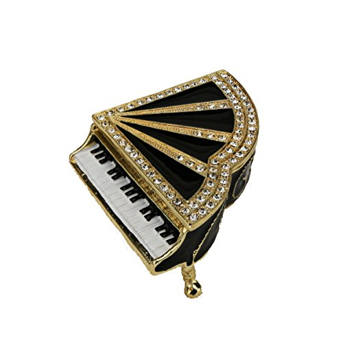 Black Piano Keepsake Box Swarovski Crystals Jewelry Trinket Pill Box Figurine Collectible… (Jewelry Pill Trinket Box)