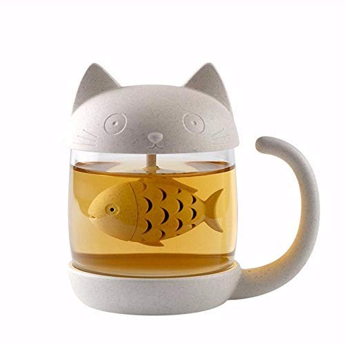 Cute Cat Infuser Tea Mug with Built-In Fish Shaped Loose Lea