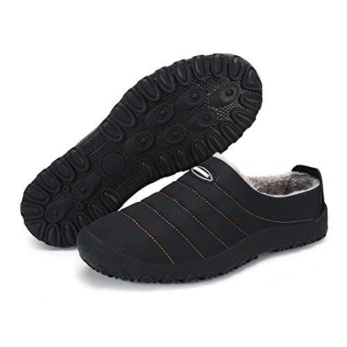 Blankey Homme Et Femmes Pantoufles En Coton Anti-dérapant Cachemire Hiver Chaud Pantoufles Intérieur Et Extérieur Noir