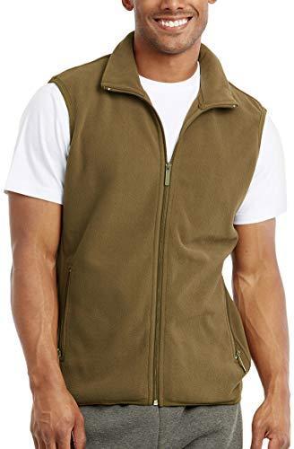 ToBeInStyle Men's Zipup Sleeveless High Collar Polar Fleece Vest - Olive - 2XL ()