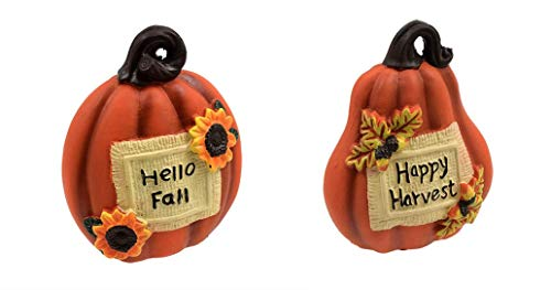 2 Halloween Pumpkin Decoration Statues. Happy Harvest & Hello Fall Halloween Pumpkin Home Decor Statues. ()