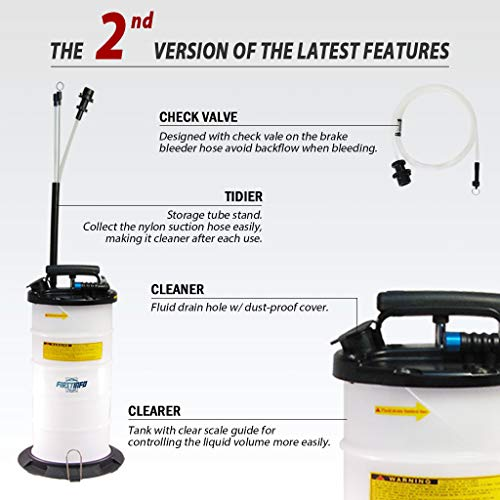 FIRSTINFO Made in Taiwan 9.5L Pneumatic and Manual Operation Oil or Fluid Extractor with 4 pcs Hoses by FIT TOOLS (Image #1)