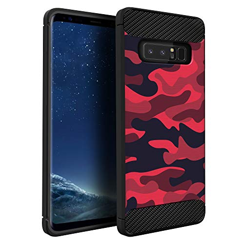 CasesOnDeck Case Compatible with Samsung Galaxy Note 8 -Flexible and Durable Shock Absorption with Carbon Fiber Accents and Designs (Red Camo)