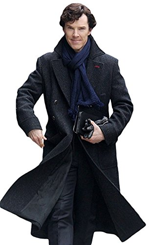 Classic Outfitters Sherlock Holmes Benedict Cumberbatch Wool Long Trench Coat Jacket (XL - Coat Chest 50