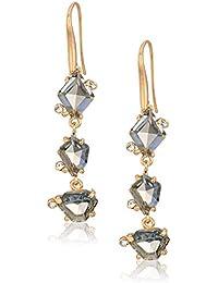 Geometric Black Diamond Stone Linear Earrings, One Size