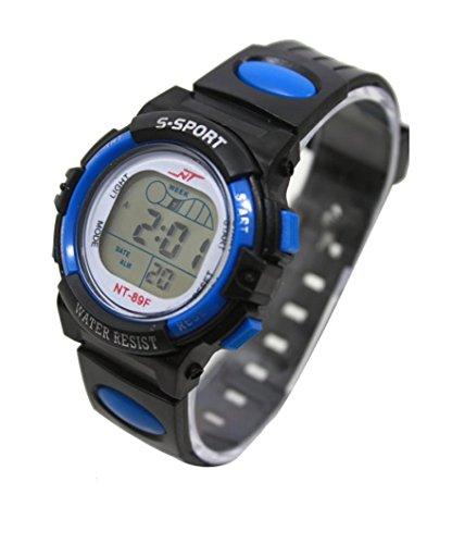 Unisex LED Light Digital Sports Wrist Watch - Blue - 6