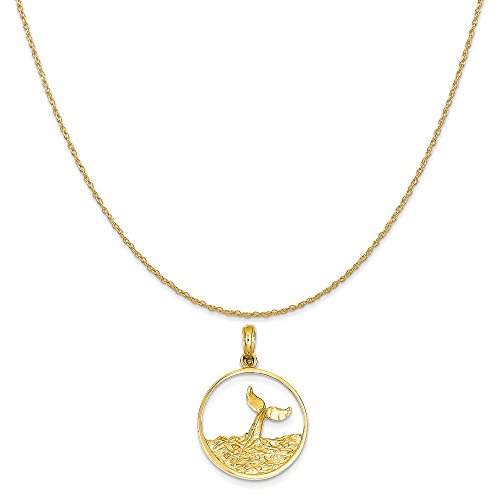14k Yellow Gold Whale Tail in Circle with Waves Pendant on 14K Yellow Gold Rope Necklace, 18
